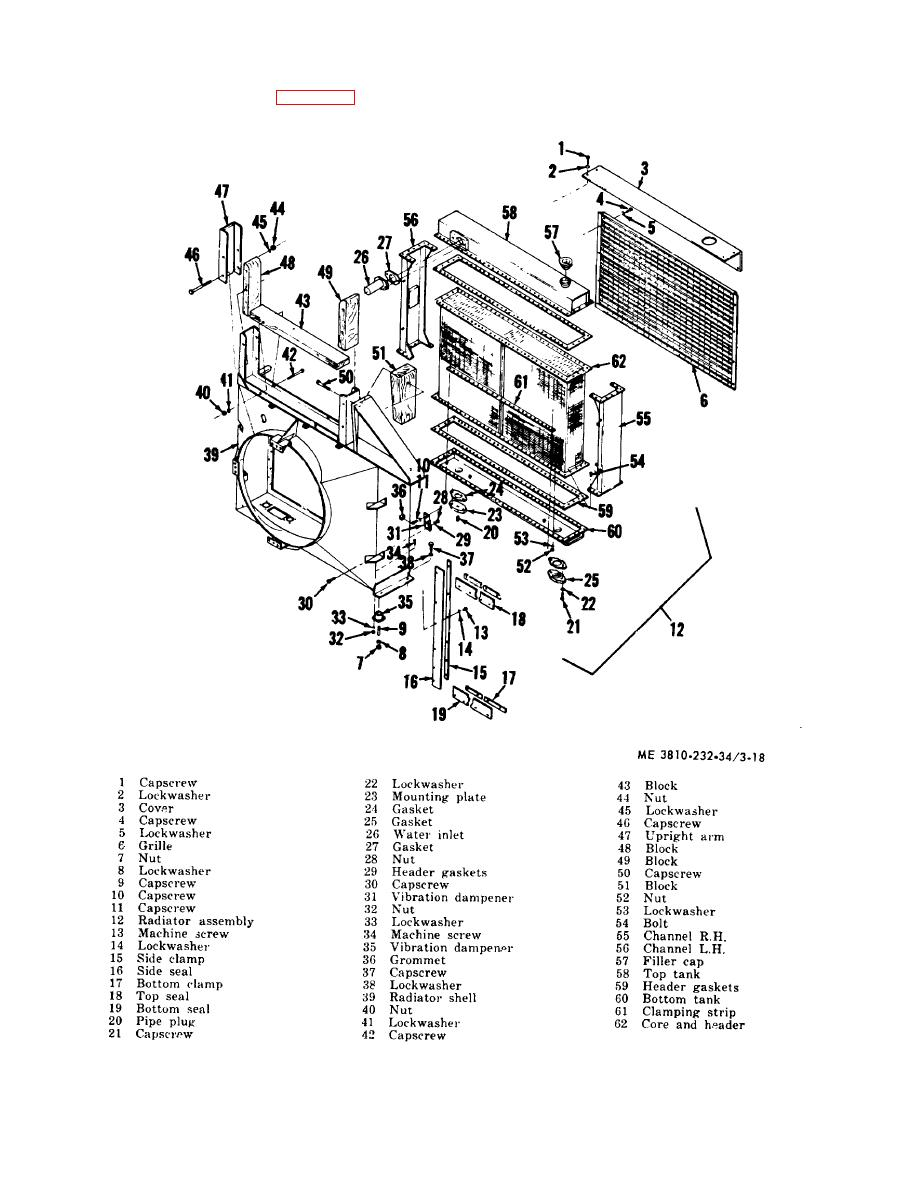 Figure 3-18. Carrier radiator assembly exploded view..