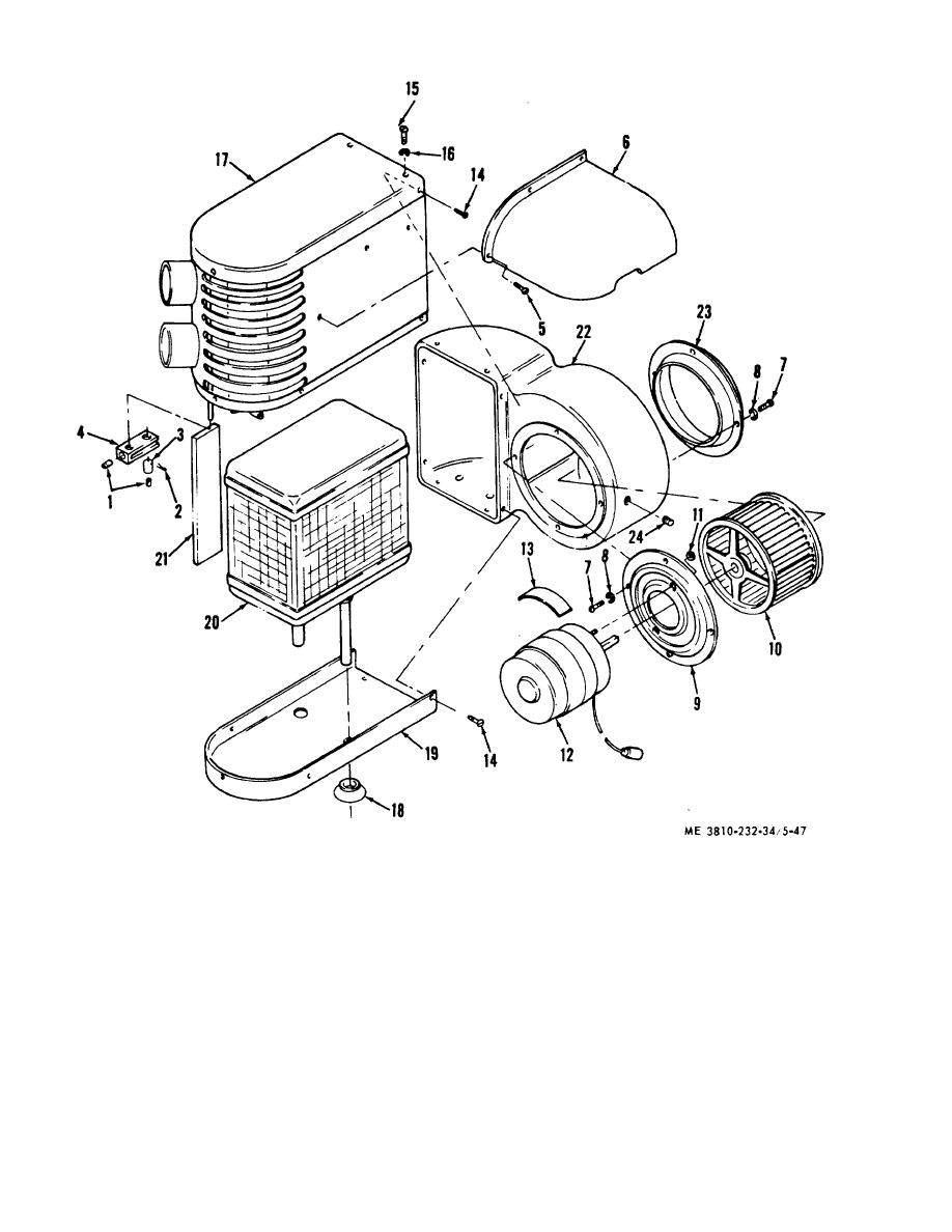 Figure 5-47. Carrier cab heater assembly, exploded view.