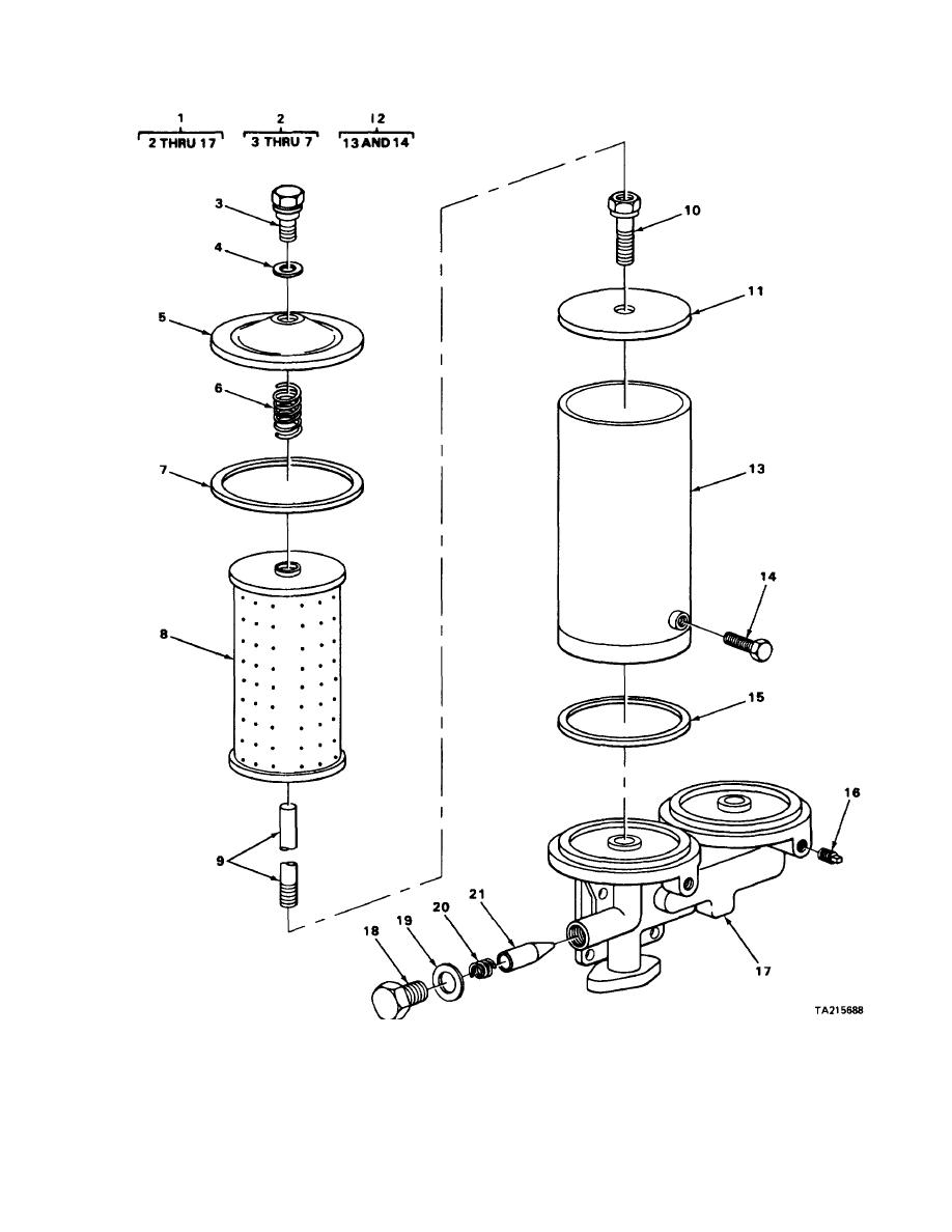 FIGURE 8. CRANE ENGINE OIL FILTER EXPLODED VIEW.