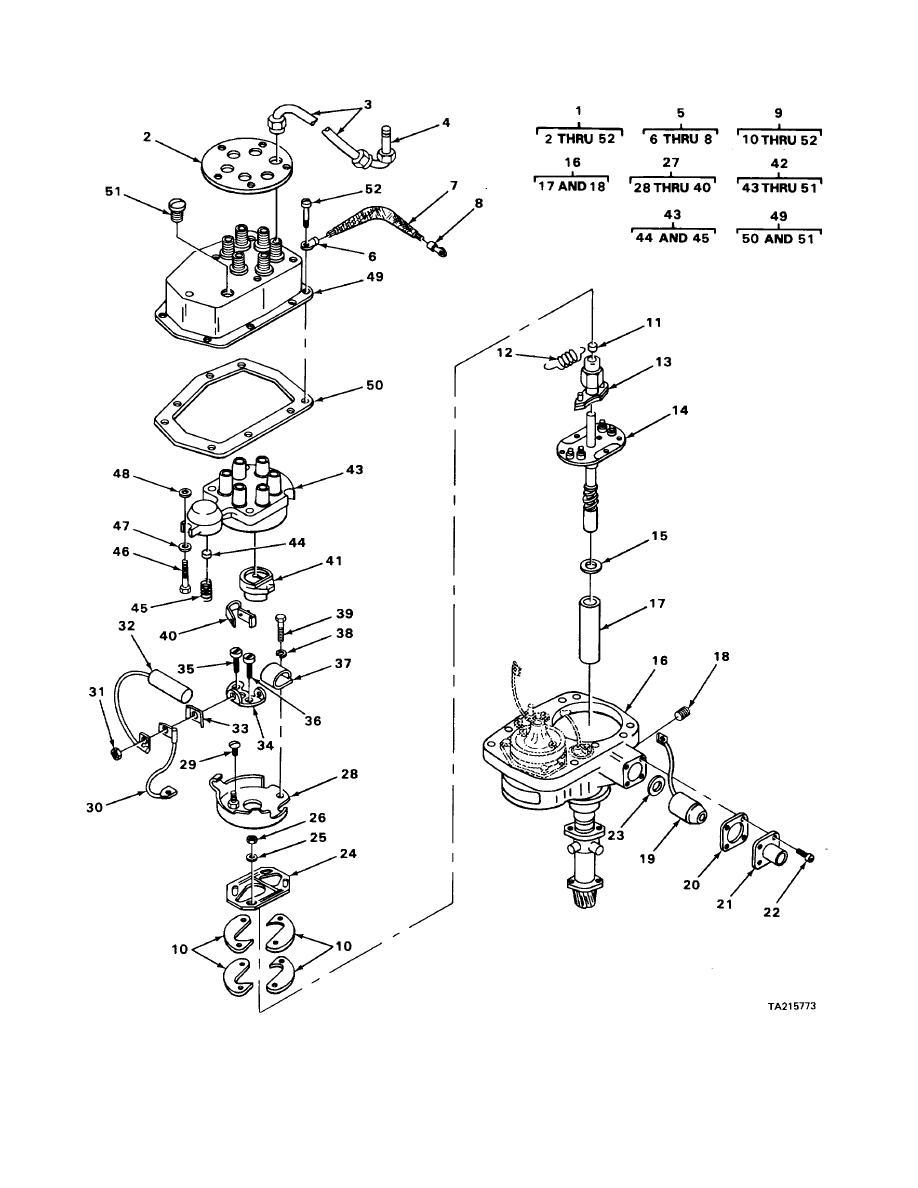 FIGURE 76. CRANE ENGINE DISTRIBUTOR EXPLODED VIEW