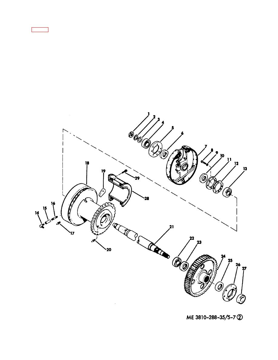 Figure 5-7. Rear drumsaft assembly, exploded view. (Sheet