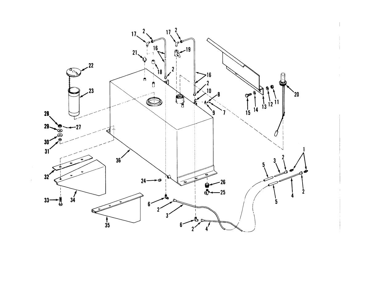 Figure 4-7. Fuel tank, lines and fittings, removal and