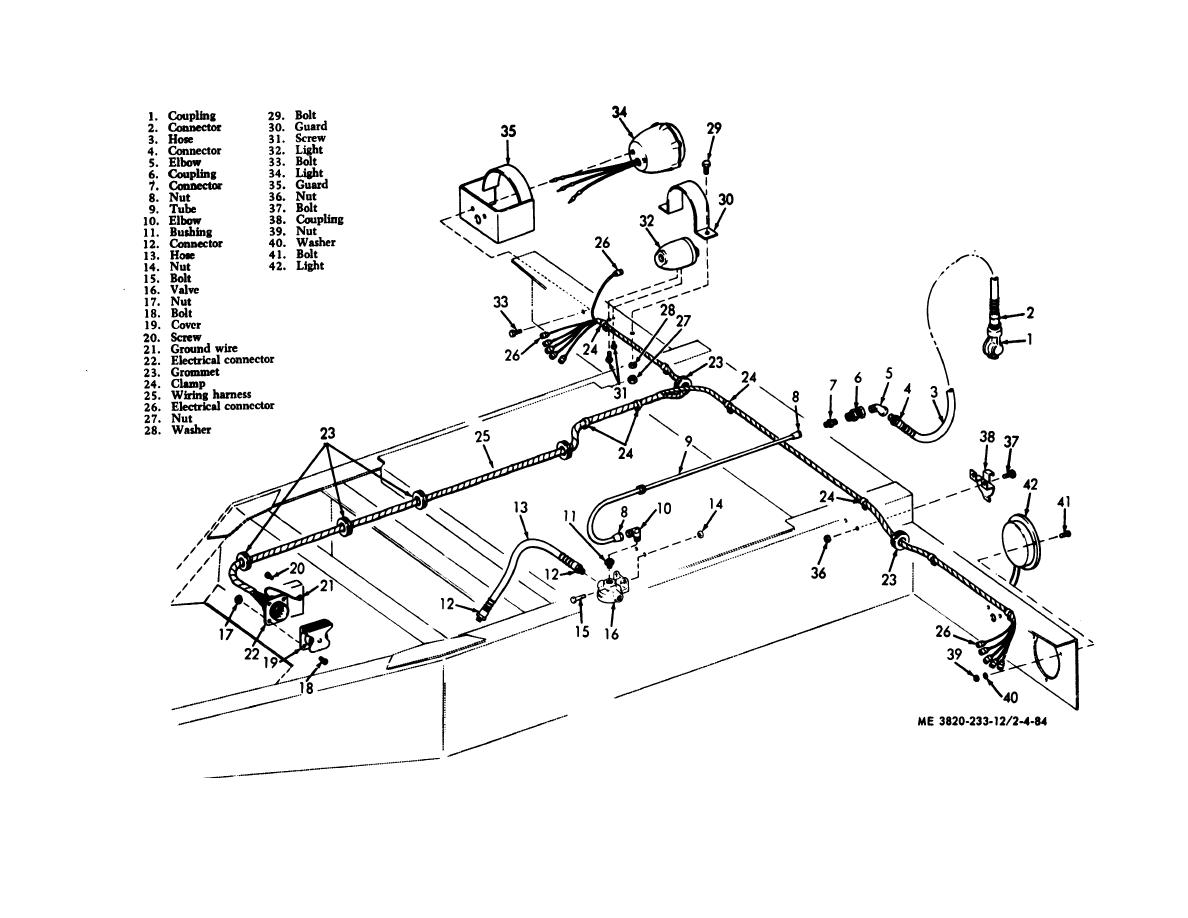 Figure 4-84. Dolly air brake system, electrical light and