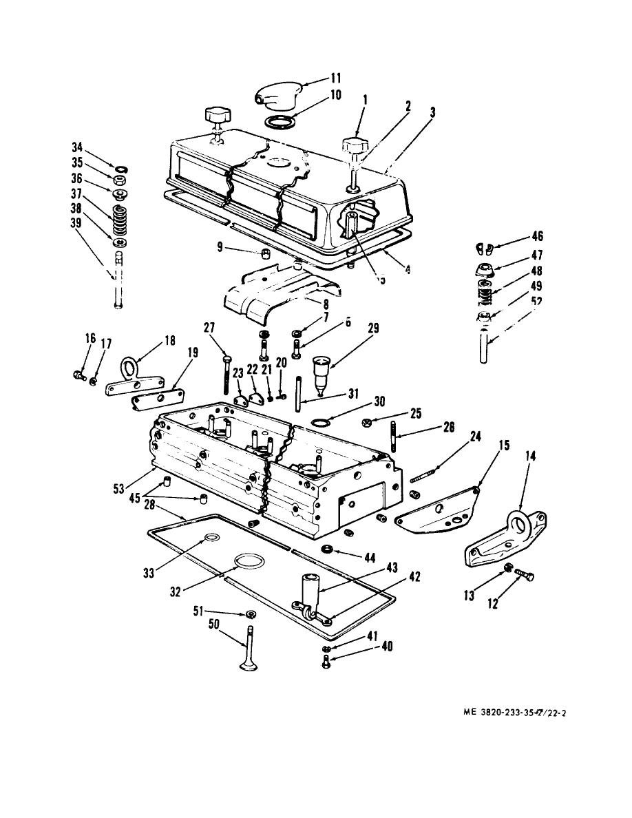 Figure 22-2. Cylinder head, exploded view.