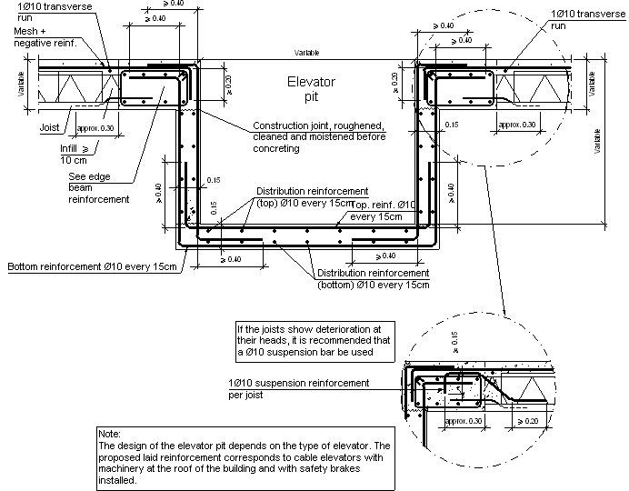 Construction details. CYPE. EHU313: Elevator pit suspended