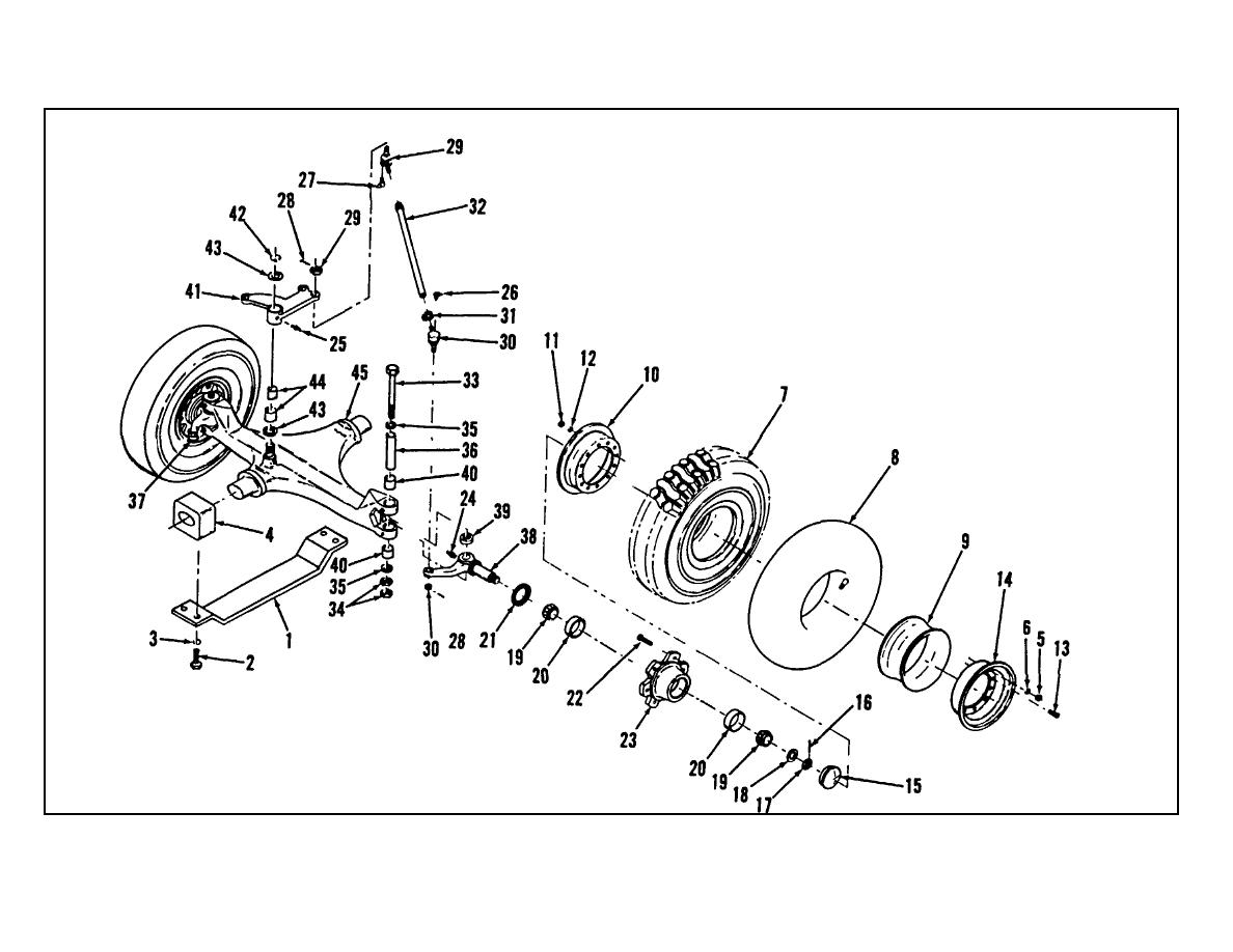Figure 4 33 Rear Steering Axle Assembly Exploded View