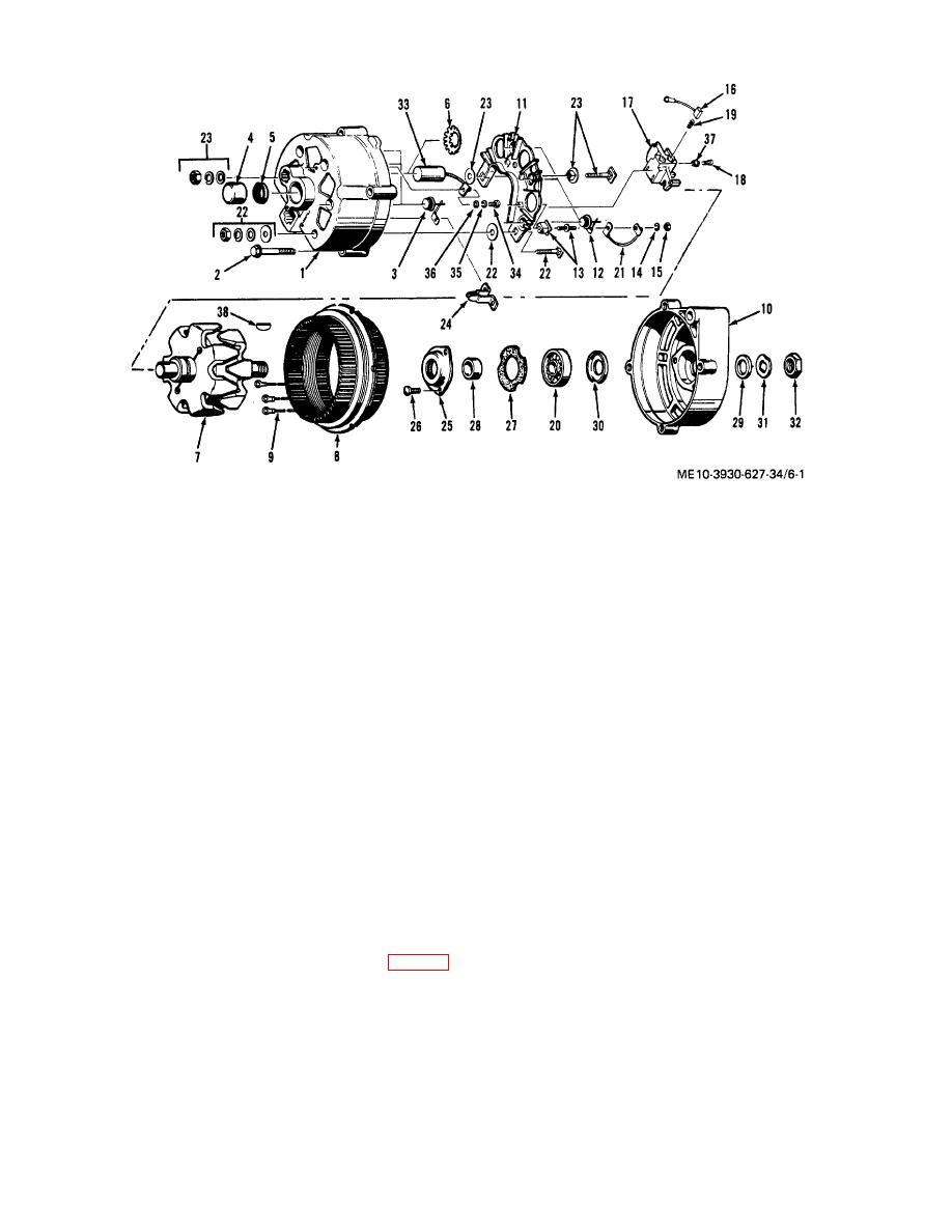 Figure 6-1. Alternator, exploded view.