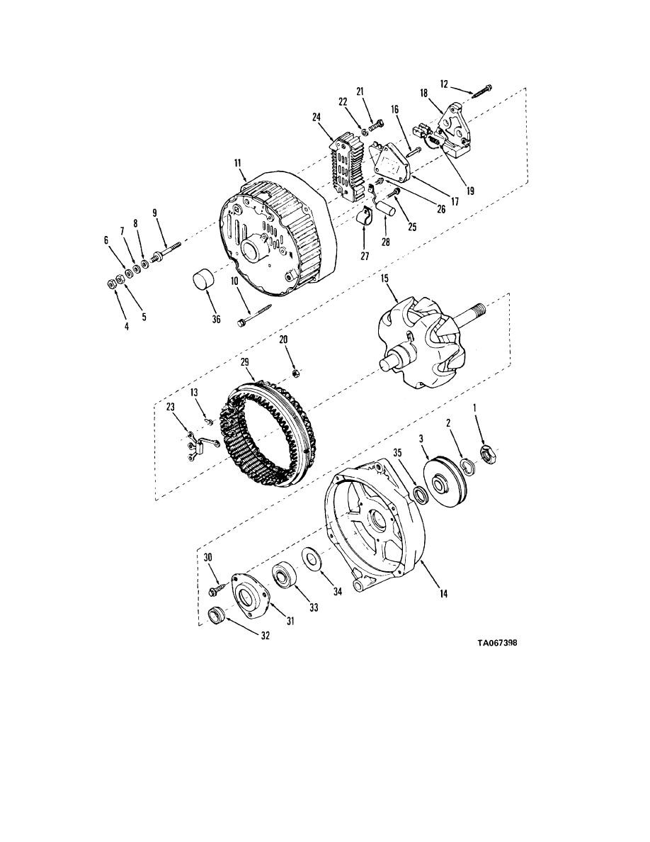 Figure 4-1. Alternator, disassembly and reassembly.