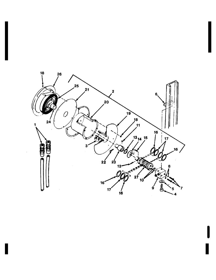 Figure 4-45. Side shift hose reel, exploded view.