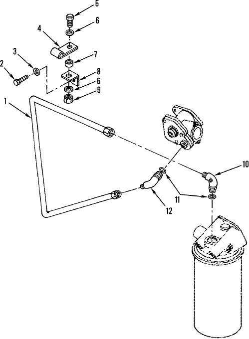 Figure 39. Secondary Filter Fuel Lines, Fittings, and Mounting