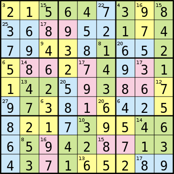 Solution for a Killer Sudoku Puzzle, solution ...