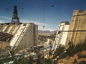 Shasta Dam under construction, California