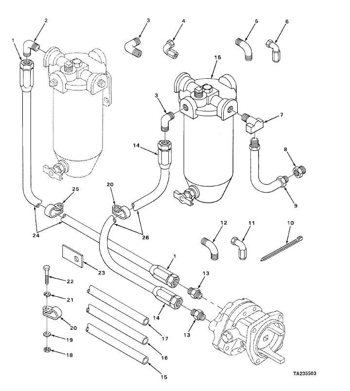 FIGURE 39. FUEL FILTER AND STRAINER LINES.