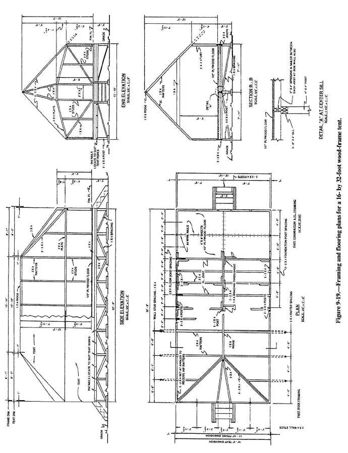 Figure 9-19.Framing and flooring plans for a 16- by 32
