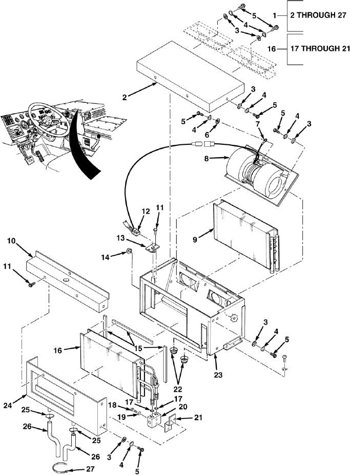 FIG. 5. AC HEATER/EVAPORATOR ASSEMBLY