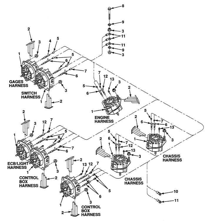 FIG. 130 CAB WIRING HARNESS 22 PIN CONNECTORS