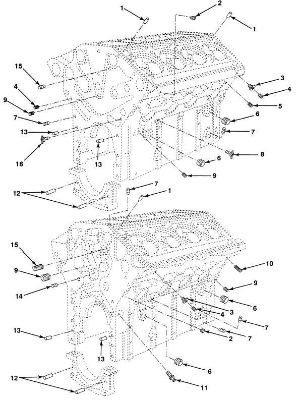 FIG. 5 CYLINDER BLOCK ASSEMBLY PINS AND PLUGS