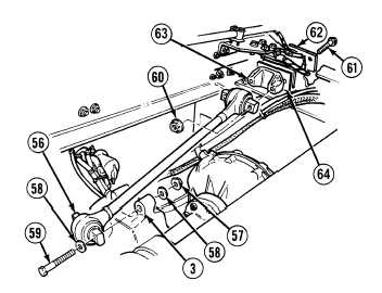 Installation of longitudinal torque rod.