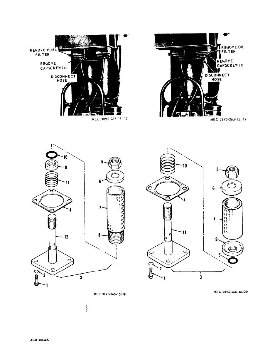 Figure 3-1. Fuel filter assembly, removal and installation