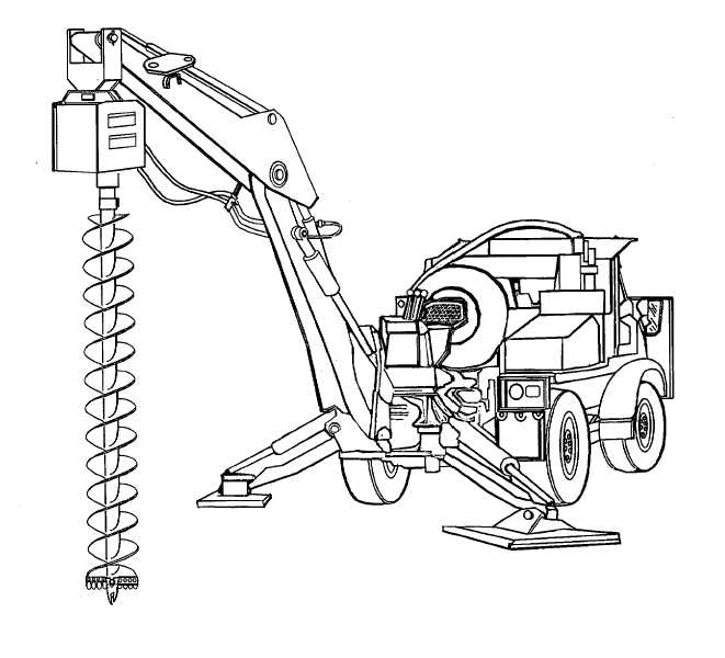 Earth Auger Assembly attached to SEE vehicle positioned to
