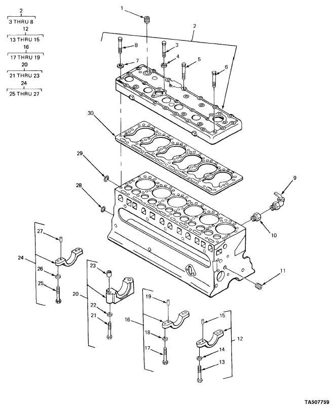 FIGURE 3. CYLINDER BLOCK, CYLINDER HEAD AND RELATED PARTS