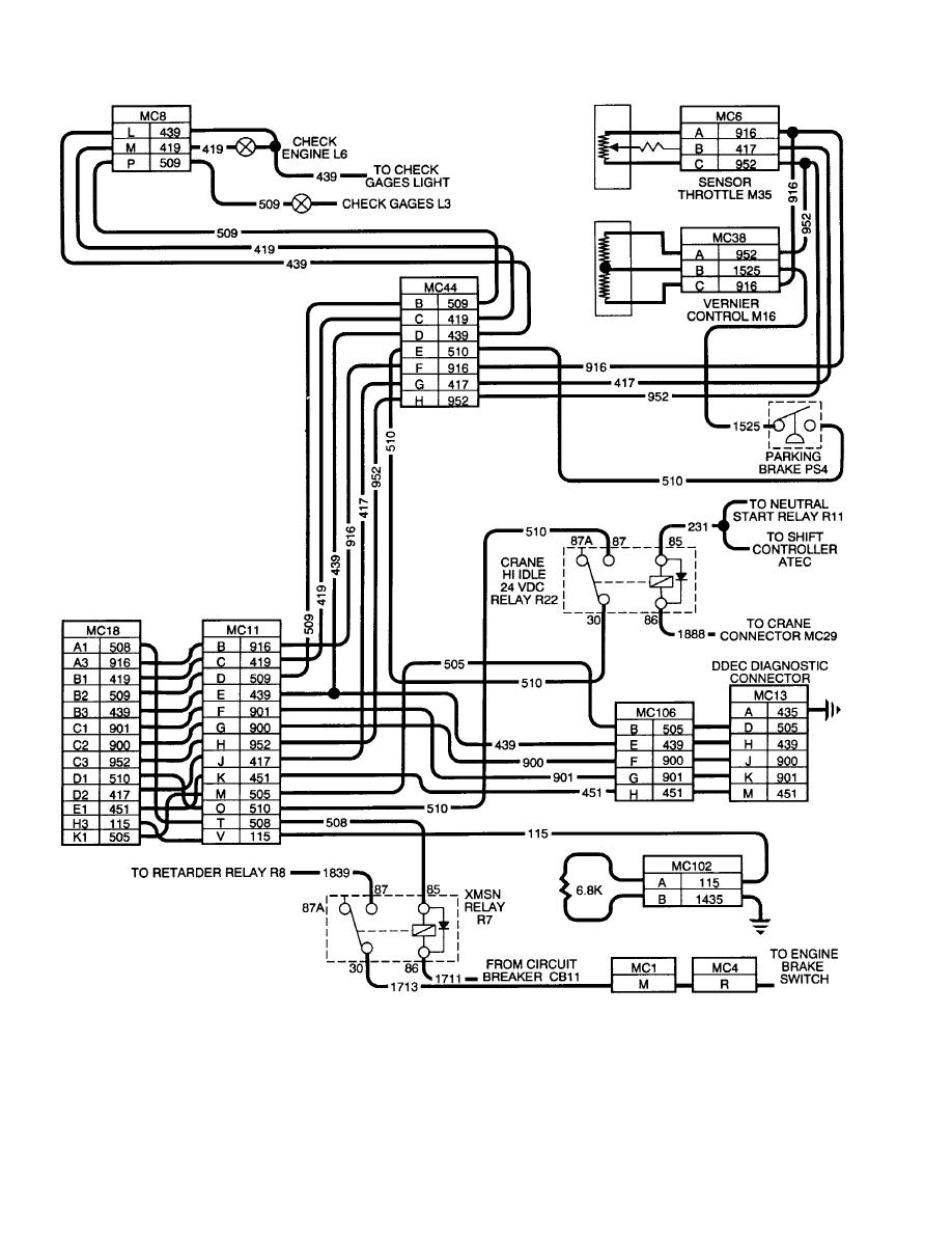 Figure 2-1. DDEC II Vehicle Harness Wiring Schematic