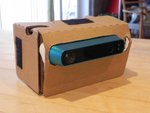 Structure Sensor mounted in a modified Google CardBoard V2.