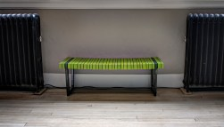 Green Slatted Bench