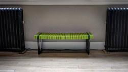 Green Slatted Bench