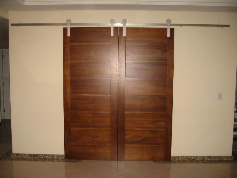 Porta Dupla de Correr  Madeira e Alumnio  construdeiacom