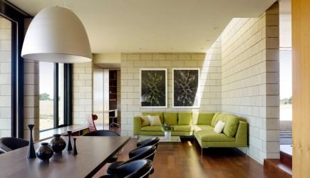 Diseño de casa moderna de un piso de ladrillo caravista