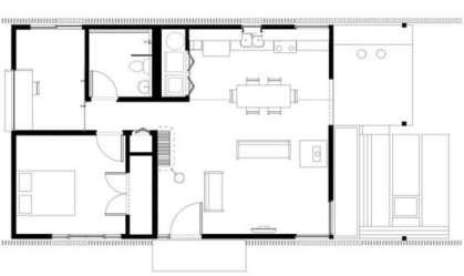 Plano de casa pequeña con moderna fachada más interiores