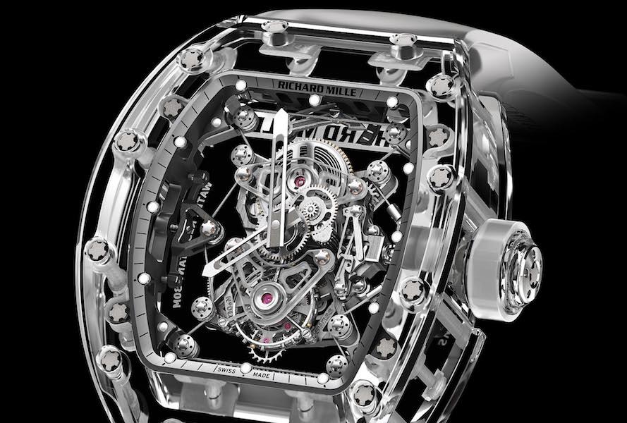 387b6630f Richard Mille Tourbillon RM 56-02 Sapphire. Zafírový prípadový mechanizmus  pripomína motor pretekárskeho vozidla.