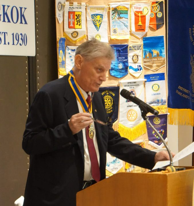 Mr. Urs D. Blum, President of the Rotary Club of Bangkok