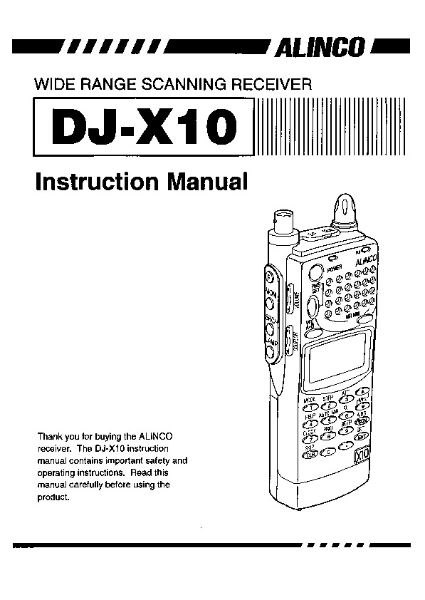 Alinco DJ-X10 VHF UHF FM Radio Instruction Owners Manual