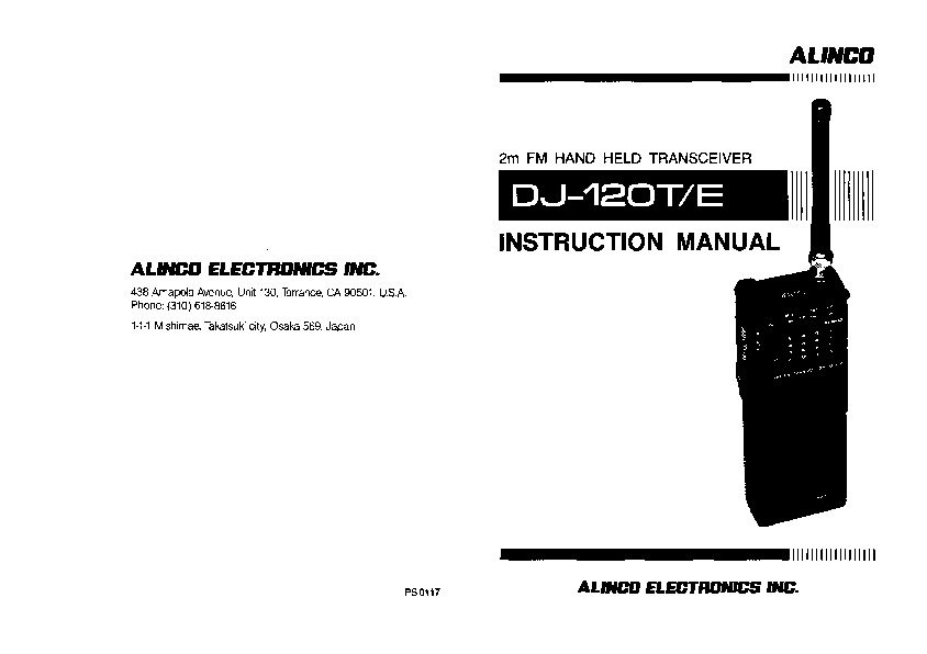 Alinco DJ-120 FM Radio Owners Manual