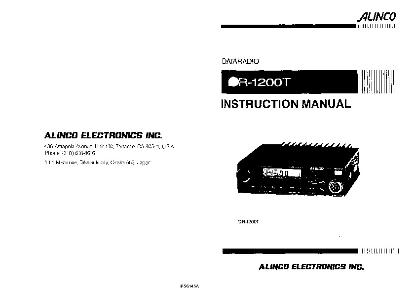 Alinco DR-1200 VHF UHF FM Radio Instruction Manual
