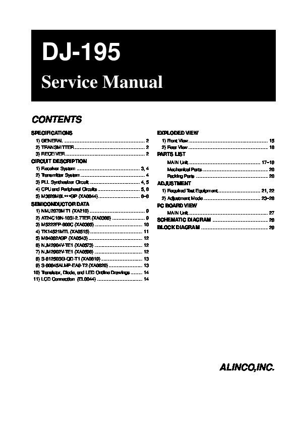 Alinco DJ-195 VHF UHF FM Radio Service Manual