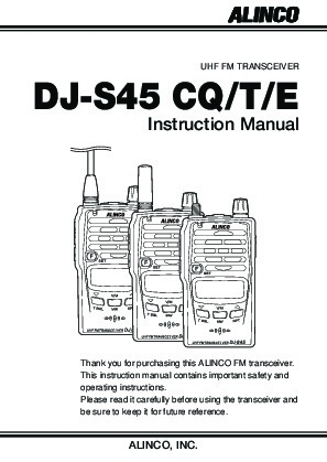 Alinco DJ-S45 CQ T E VHF UHF FM Radio Owners Manual