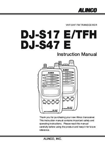 Alinco DJ-S17 DJ-S47 E TFH VHF UHF FM Radio Instruction