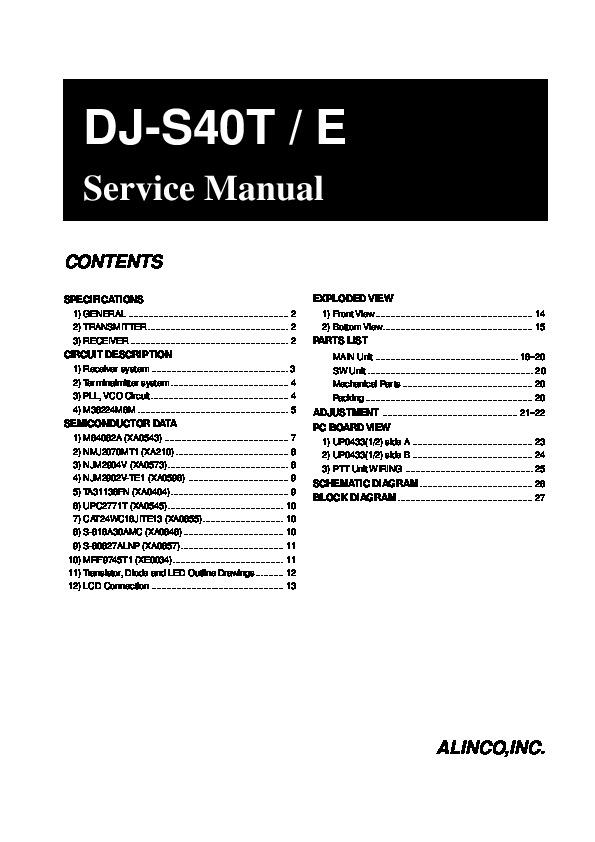 Alinco DJ-S40 T E VHF UHF FM Radio Instruction Service Manual