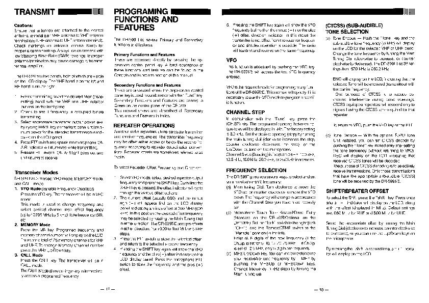 Alinco DR-599 VHF UHF FM Radio Owners Manual