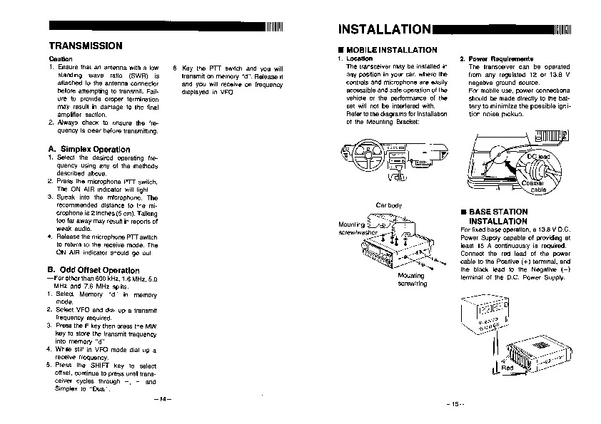 Alinco DR 119 VHF UHF FM Radio Owners Manual