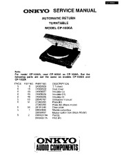 Onkyo CP-1033A CP-1036A Automatic Return Turntable Service