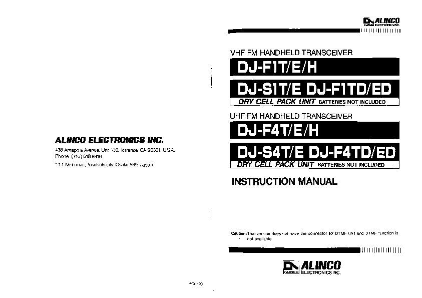 Alinco DJ-F1 S1 DJ-F4 S4 T E H VHF UHF FM Radio Owners Manual