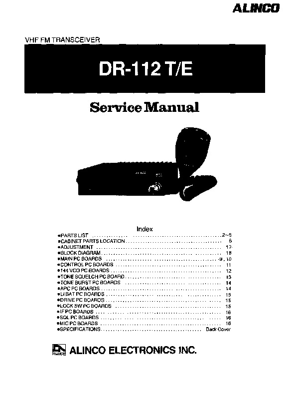 Alinco DR-112 SM VHF UHF FM Radio Owners Manual