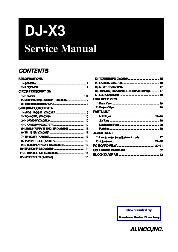 Alinco DJ-X3 VHF UHF FM Radio Service Manual