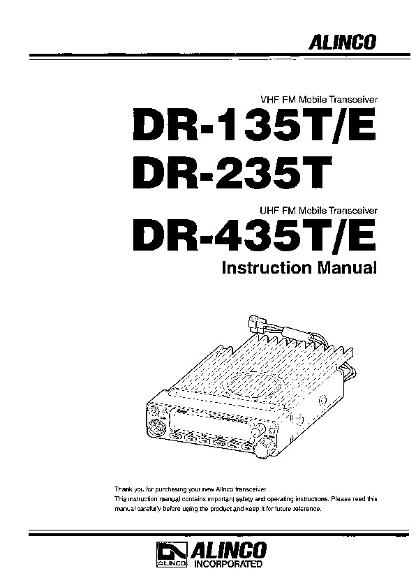 Alinco DR-135 DR-265 DR-435 VHF UHF FM Radio Owners Manual