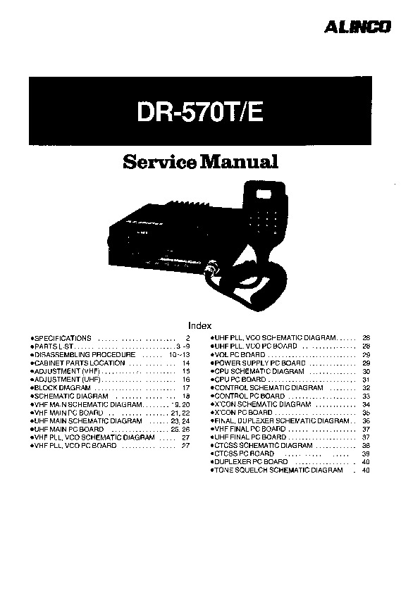 Alinco DR-570 Radio Instruction Service Manual