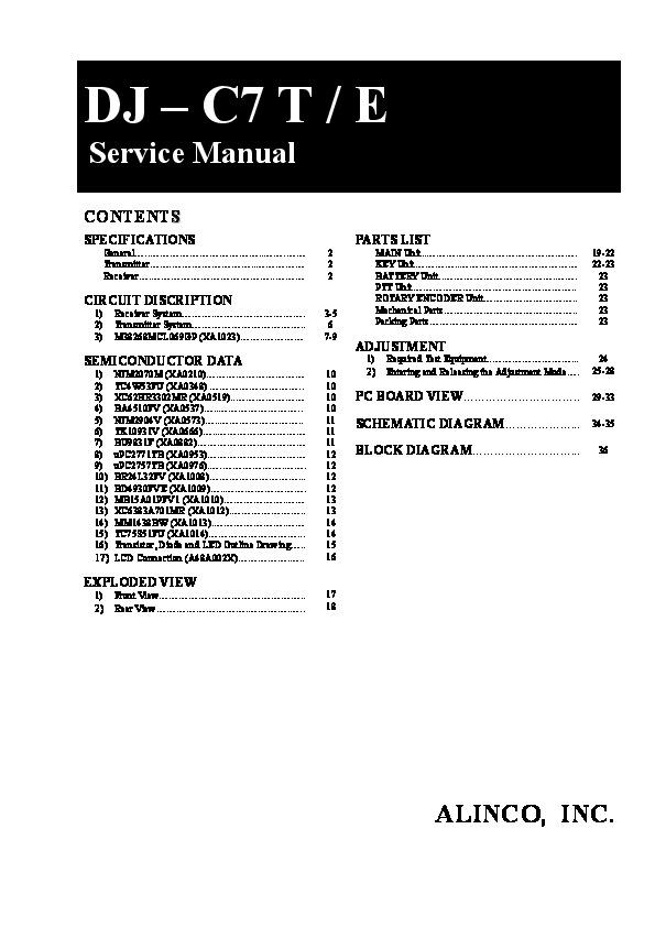 Alinco DJ-C7 SM VHF UHF FM Radio Service Manual